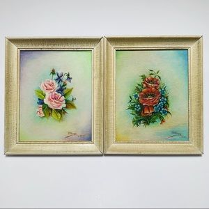 Vintage 1960's Framed Floral Oil Paintings.